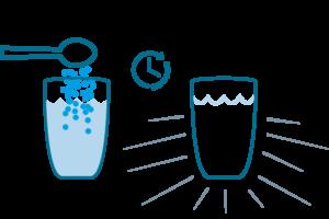 Attendere il completo disciogliemento di Magnesio Supremo per ottenere una soluzione limpida